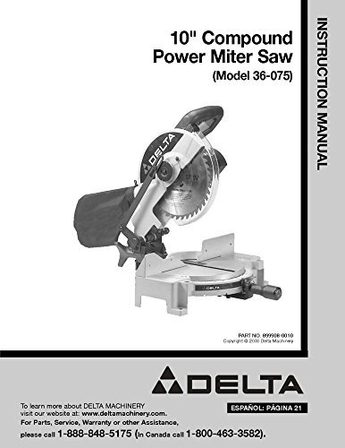 pound Power Miter Saw Instruction Manual [Plastic Comb] [... ()