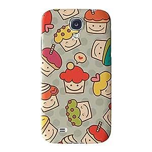 Colorido para cupcakes Patrón de Lunares Full Wrap Case Impreso en 3d gran calidad, Snap-on Cover para Samsung Galaxy S4, diseño de UltraCases