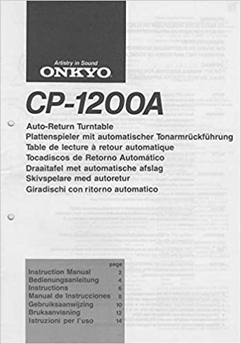 Onkyo CP-1200A Turntable Owners Instruction Manual Reprint ...