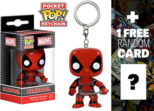 Deadpool: Pocket POP! x Marvel Universe Mini-Figure Keychain + 1 Free Official Marvel Trading Card Bundle [49843] ()