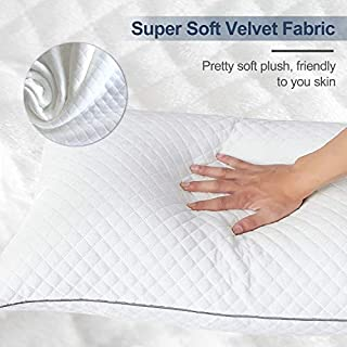 """GOHOME Standard Pillows Set of 2, Soft Bed Pillows for Sleeping with Soft Velvet Fabric, Twin Size Sleeping Pillows for Side and Back Sleepers, 20""""x26"""" Standard Size"""