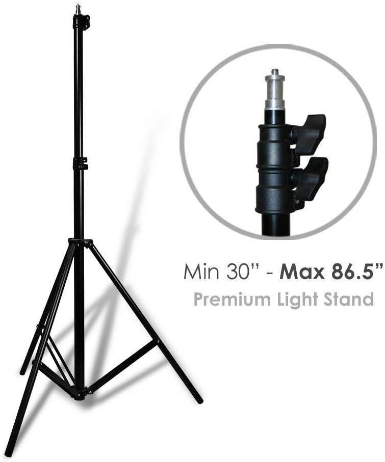 oldzon Photography Photo Studio 3 Light Bulb Umbrella Muslin 3 Backdrop Stand Set with Ebook