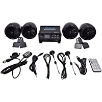 Shark 1400 Watt 4 Stereo Waterproof Amp Channel Motorcycle Boat Snowmobile Audio System, Waterproof Turbo Style Speakers (Subwoofer Output), LCD Display, Wired & Wireless Remote, Model Shk8300, Black