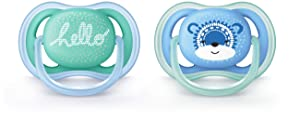 Philips Avent Ultra Air Pacifier, 6-18 months, blue/green, fashion decos, 2 pack, SCF342/22