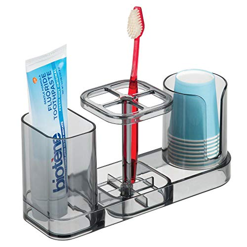 mDesign Plastic Bathroom Vanity Countertop Dental Storage Organizer Holder Stand for Electric Spin Toothbrushes/Toothpaste with Compartment for Rinse Cups - Compact Design - Smoke Gray