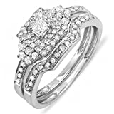 0.55 Carat (ctw) 14k White Gold Princess & Round Diamond Ladies Bridal Engagement Ring Set with Matching Band 1/2 CT (Size 8)