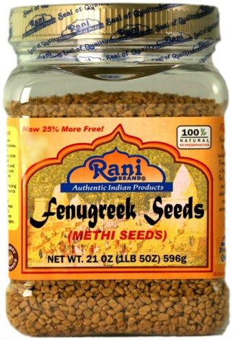 Rani Fenugreek (Methi) Seeds Whole 21oz (1.30lbs 596g - 1lb & 5oz) Trigonella foenum graecum | Gluten Free | Non-GMO (used in cooking &Ayurvedic spice)