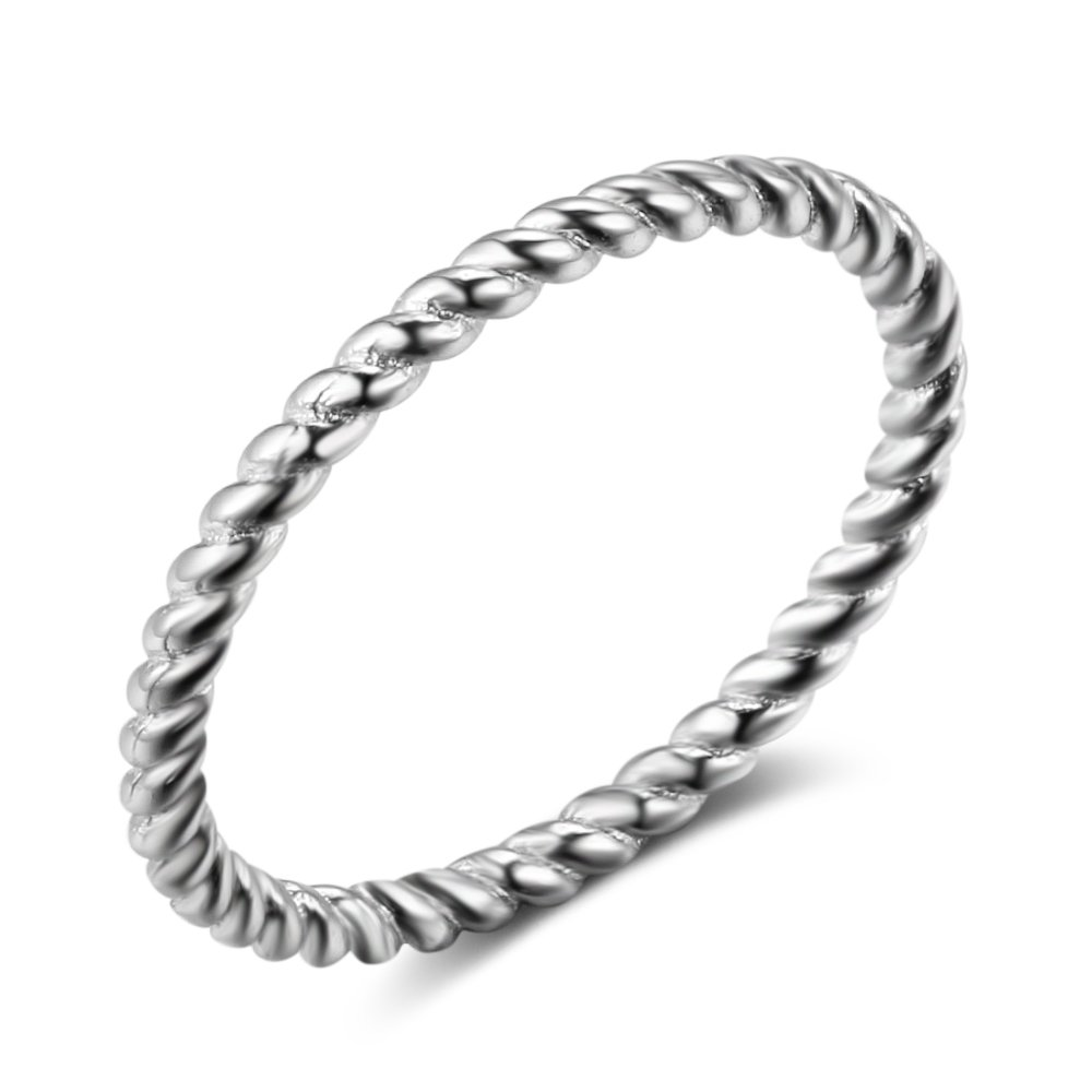 Furious Jewelry 925 Sterling Silver Simple Personality Twist Band Ring, Size 6 7 8 (6)