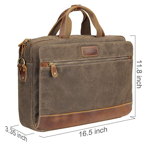 Manificent Men's Leather Briefcases Messenger Bag, 15.6 Inch Vintage Waxed Canvas Laptop Bag Attache Case,Waterproof Shoulder Bag, Brown by Manificent (Image #4)