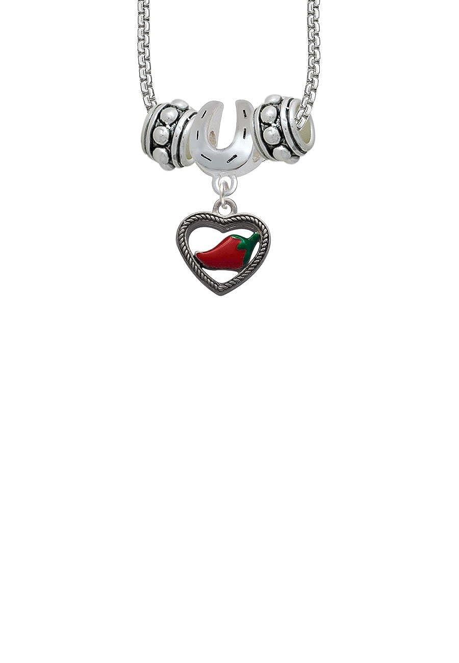 Jalapeno in Rope Heart Horseshoe 3 Bead Necklace
