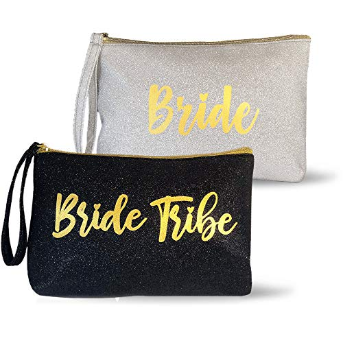 6 Piece Set | Black & Silver GLITTER  Bride Tribe Bridesmaid Canvas Cosmetic Makeup Clutch | Purse Gifts Bag for Women | Wedding Supplies Bridesmaids Proposal Box & Bachelorette Party Favors]()