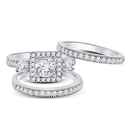 Allyanna Gifts 925 Sterling Silver 0.75 ct CZ Princess Square-cut Stackable Wedding Engagement Ring Set Size 5-10 (9) by Allyanna Gifts
