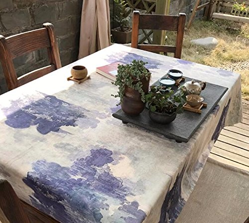WFLJL Tablecloth Original Ink Painting Personality Coffee Shop Coffee Table Love The Sea Deep 140X210cm