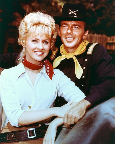F Troop 8X10 Promotional Photograph Melody Patterson As Wrangler Jane Angelica Thrift And Bob Steele As Trooper Duffy In F Troop