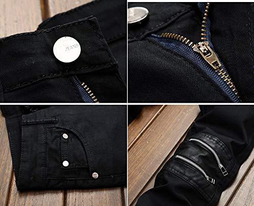 Giovane 2018 Casual Da Rte Uomo Worn Stile Colour Gamba Skinny Slim Classici Street Dritti Strappati Jeans Jeans xY06PZwq