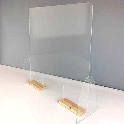 Mampara mostrador. Pantalla de protección. Separador transparente para Farmacias, supermercados, recepciones, hoteles, tiendas y comercios.(Ancho 84 cm y Alto 100 cm) (Peanas color pino): Amazon.es: Oficina y papelería