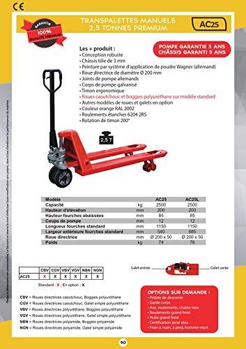 Transpalette 2,5 T premium livr/é timon mont/é roues VBV