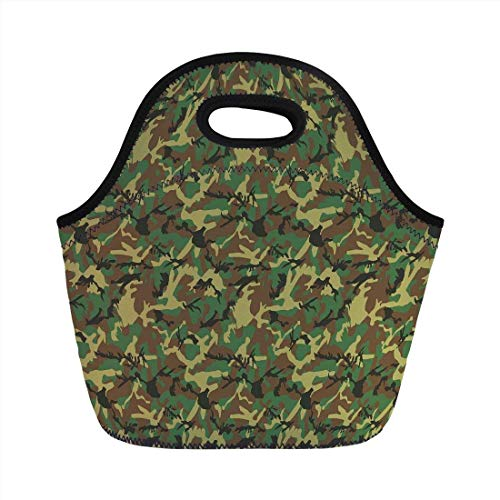 0d2ba15f94be Portable Bento Lunch Bag,Camo,Woodland Camouflage Pattern Abstract Army  Force Hiding in Jungle,Dark Green Light Green Brown,for Kids Adult Thermal  ...