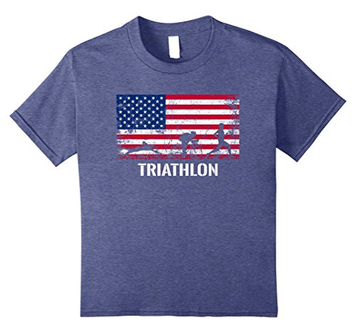 Kids American Flag Triathlon Shirt - Archery Team Gift. 8 Heather - Triathlon Usa