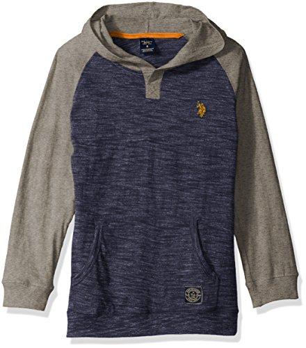 U.S. Polo Assn. Boys' Big Boys' Color Blocked Hooded Henley Pullover, Med Heather Gray with Pocket, - Embroidered Pullover Hooded