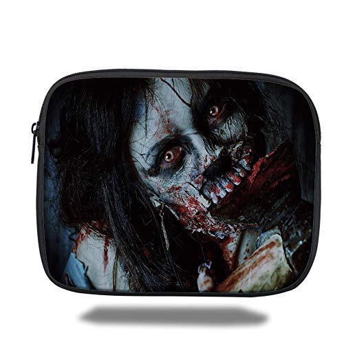 (Tablet Bag for Ipad air 2/3/4/mini 9.7 inch,Zombie Decor,Scary Dead Woman with Bloody Axe Evil Fantasy Gothic Mystery Halloween Picture,Multicolor)