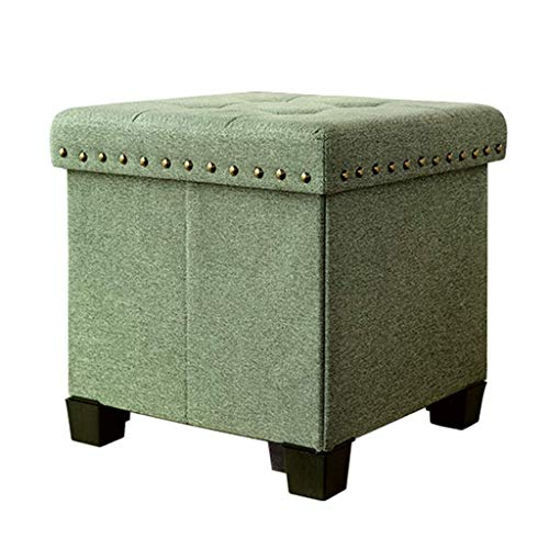 - Der Storage Stool Practical Ottoman Cube Box Upholstered Footrest Multifunction Cloth Footstool Single Seat with Removable Lid Max.120KG for Hallway (Color : Green)