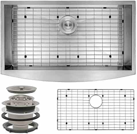 Perfetto Kitchen and Bath Handmade Kitchen Sink Stainless Steel Apron Undermount Single Basin w/Dish Grid & Drain Kit (30 Inch x 20 Inch)