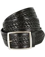 "Basketweave Work Uniform Genuine Leather Belt 1.75"" for Men-Black, Brown, or Tan"