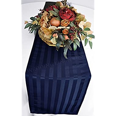 """Wedding Linens Inc. 12""""x 108"""" Striped Jacquard Polyester Table Runners / Damask Table Runner Linens for Restaurant Kitchen Dining Wedding Party Banquet Events - Navy Blue"""