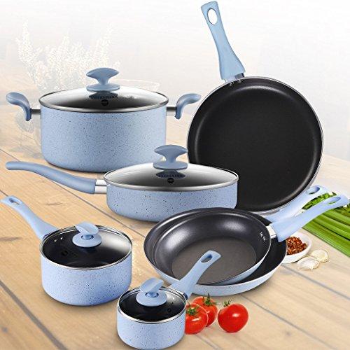 Pots and Pans Set, COOKSMARK Pearl Hard Porcelain Enamel Nonstick Cookware Set, 10-Piece, Dishwasher Safe, Blue Speckle