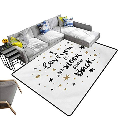 Black Cocoa Runner Rug - Designed Kitchen Bathroom Floor Mat Colorful I Love You,Hand Drawn I Love You to The Moon and Back Quote Stars Valentines Celebration,Cocoa Black 80