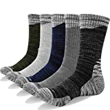 YUEDGE Men's Wicking Cushion Crew Cotton Performance Work Running Walking Casual Socks(XL)