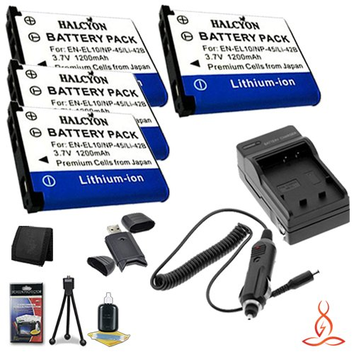 Four Halcyon 1200 mAH Lithium Ion Replacement Nikon EN-EL10 Battery and Charger Kit + Memory Card Wallet + Deluxe Starter Kit for Nikon Coolpix S230 Digital Camera and Nikon EN-EL10