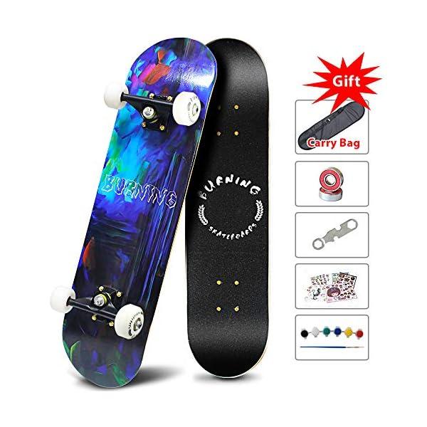 "Easy_Way Complete Skateboards -Standard Skateboards for Beginners Starter – 31""x 8""Canadian Maple Pro Cruiser Standard Skate Boards"
