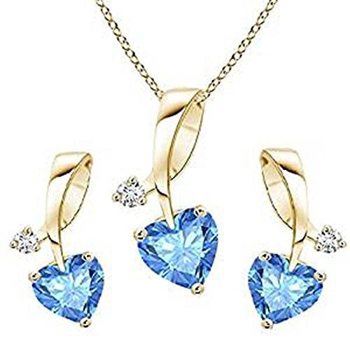 Lilu joyas con cadena de 18cm plata de ley 92514K chapado en oro con forma de corazón aguamarina & Collage colgante de las niñas de la mujer Set