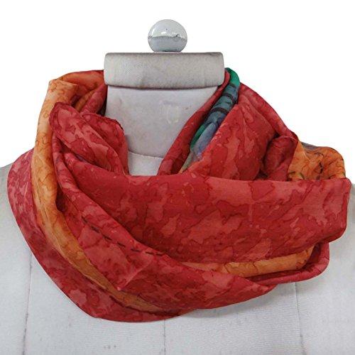 Femmes Aboutyou Pouces Soie Écharpes Wrap Orange Foulards Pure En Foulard 20