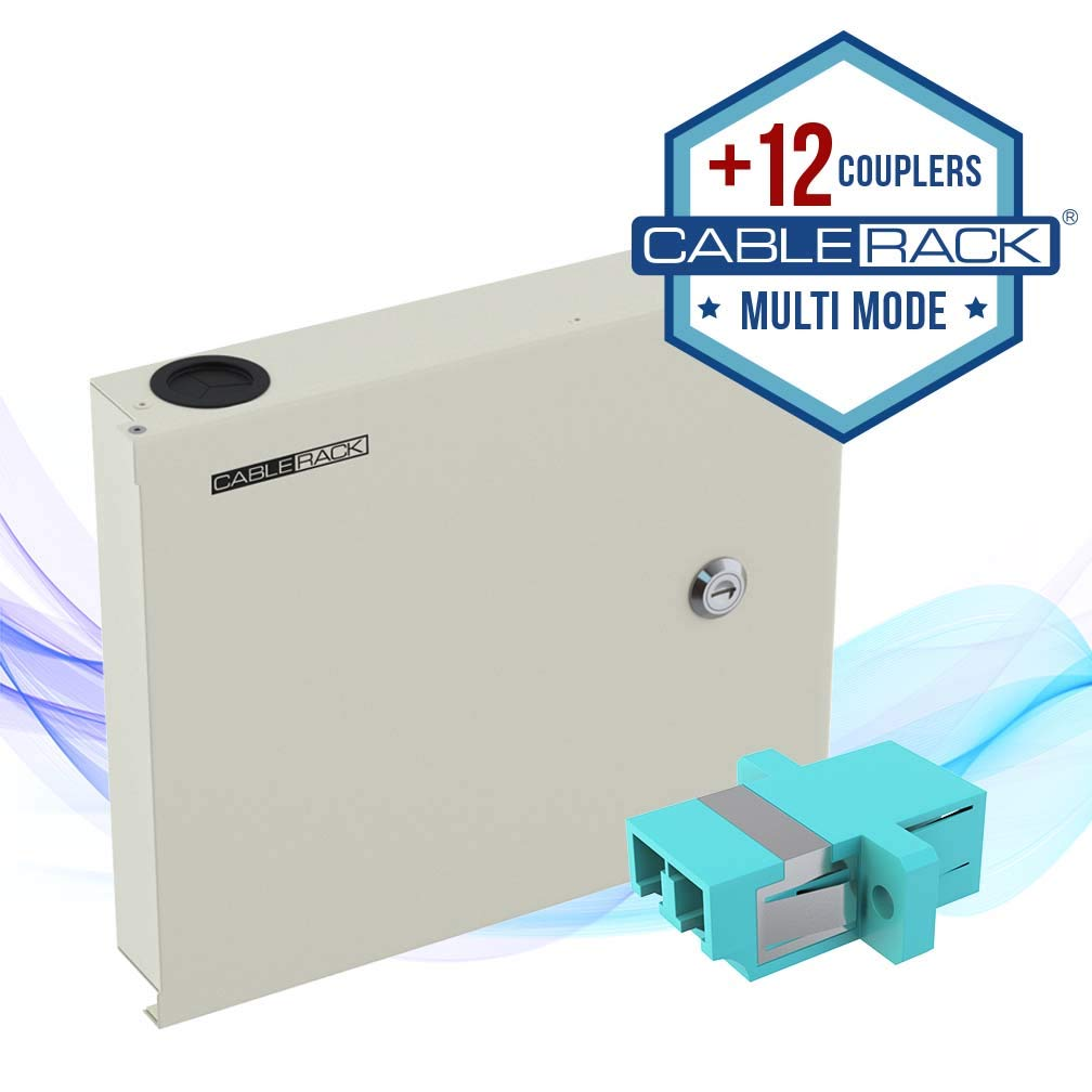 CableRack Fiber Optic Wall Mount Enclosure Box with 12 Duplex LC Multimode Aqua Couplers by CableRack