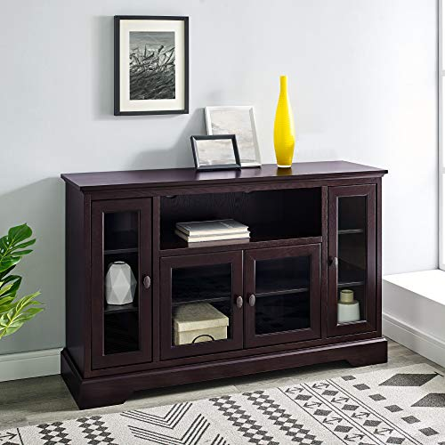 """WE Furniture 52"""" Wood Highboy Style Tall TV Stand - Espresso"""