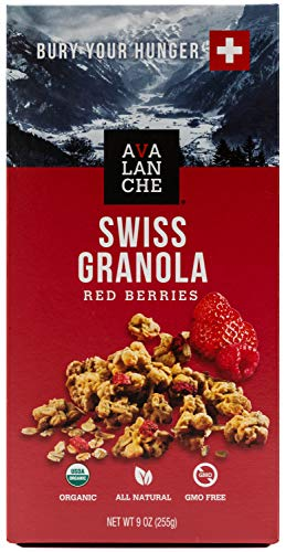 Avalanche Organic Red Berries Swiss Granola, 9.0 Ounce Bag (Pack of 2) Organic, Non-GMO, All Natural, Kosher, Portable Packet of Granola, Convenient Size Snack On The Go, Can Pour in - Granola Oz 9