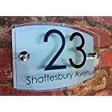 MODERN HOUSE SIGN PLAQUE DOOR NUMBER STREET GLASS EFFECT ACRYLIC ALUMINIUM NAME by K Smart Sign Ltd - A Multiple Award Winning UK Company
