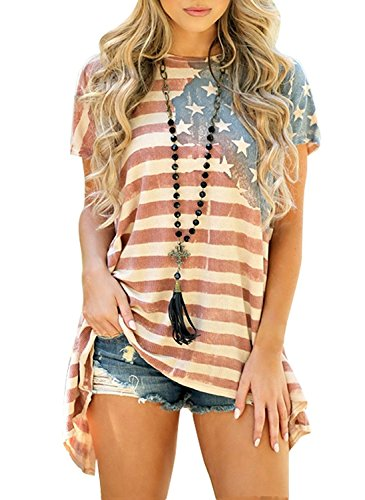 Women's Active Tshirt USA Flag Printed Camouflage Pocket Tee Tops S Stripes -