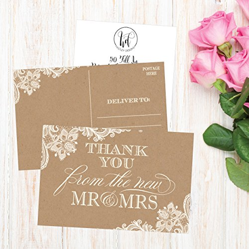 50 4x6 Rustic Kraft Thank You Postcards Bulk, Cute Blank Thank You Cards From The New Mr. and Mrs. Thank You Note Card Stationery Set For Wedding Gifts, Bridesmaid, Bridal Shower, Engagement Party Photo #3