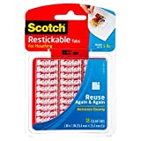 Scotch Restickable Tabs, 1-inch x 1-inch, Clear, 18-Tabs (R100)