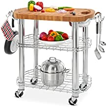 """Seville Classics Rolling Oval Solid-Bamboo Butcher Block Top Kitchen Island Cart with Storage, 30"""" W x 20"""" D x 36"""" H"""