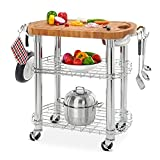 Seville Classics Rolling Oval Solid-Bamboo Butcher Block Top Kitchen Island Cart with Storage, 30″ W x 20″ D x 36″ H
