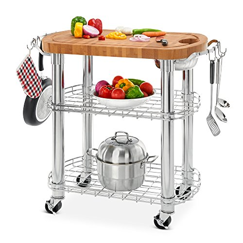 Seville Classics Rolling Oval Solid-Bamboo Butcher Block Top Kitchen Island Cart with Storage, 30