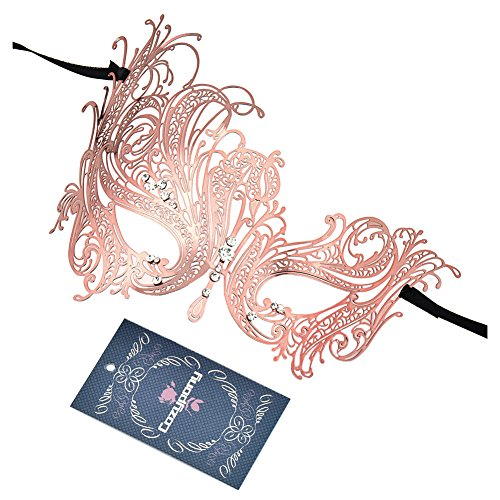[Masquerade Masks,Cozypony Metal Laser Cut Elegant Princess Peocock with Rhinestones Venetian Mask for Dance Performance Party, Mardi Gras or Prom Masks (One Size, Rose] (Mascarade Mask)