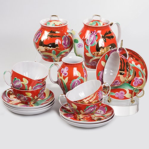 White Swan. Golden Deer 15 pc. Tea Set for 6 Persons by Dulevo Porcelain Factory