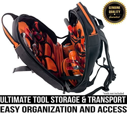 Rugged Tools Tradesman Tool Backpack – 28 Pocket Heavy Duty Jobsite Tool Bag Perfect Storage Organizer for a Contractor, Electrician, Plumber, HVAC, Cable Repairman Black Orange