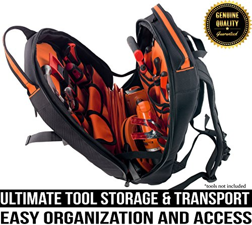 Rugged Tools Tradesman Tool Backpack - 28 Pocket Heavy Duty Jobsite Tool Bag Perfect Storage & Organizer for a Contractor, Electrician, Plumber, HVAC, Cable Repairman